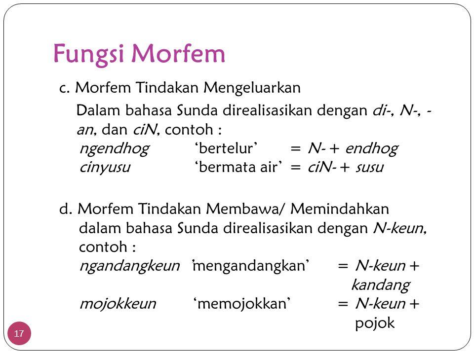 Fungsi Morfem 17 c. Morfem Tindakan Mengeluarkan Dalam bahasa Sunda direalisasikan dengan di-, N-, - an, dan ciN, contoh : ngendhog'bertelur'= N- + en