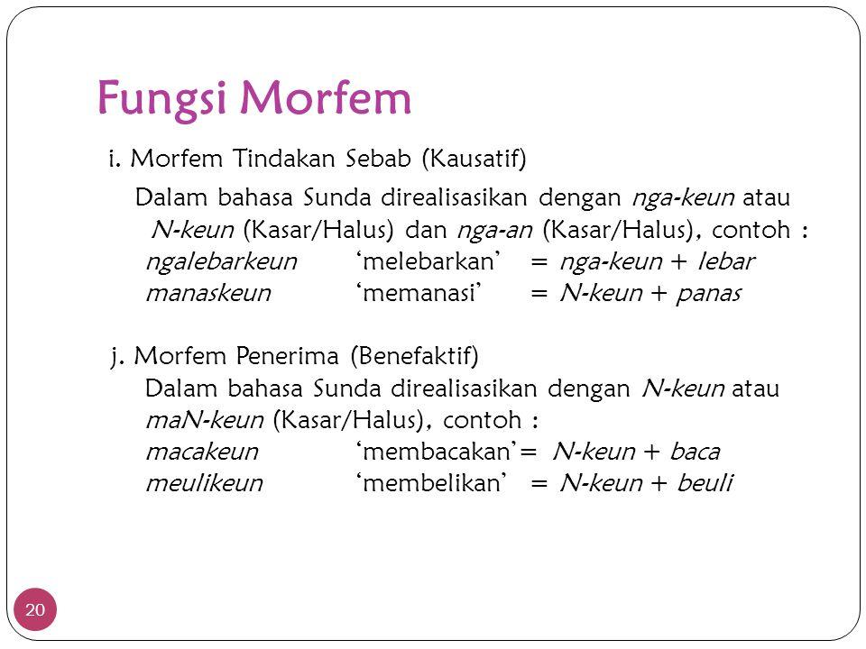 Fungsi Morfem 20 i. Morfem Tindakan Sebab (Kausatif) Dalam bahasa Sunda direalisasikan dengan nga-keun atau N-keun (Kasar/Halus) dan nga-an (Kasar/Hal