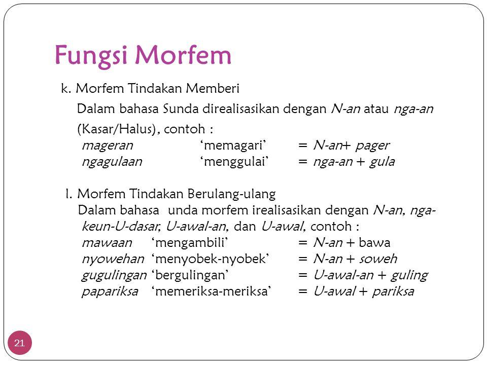 Fungsi Morfem 21 k. Morfem Tindakan Memberi Dalam bahasa Sunda direalisasikan dengan N-an atau nga-an (Kasar/Halus), contoh : mageran'memagari'= N-an+