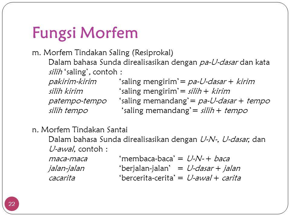 Fungsi Morfem 22 m. Morfem Tindakan Saling (Resiprokal) Dalam bahasa Sunda direalisasikan dengan pa-U-dasar dan kata silih 'saling', contoh : pakirim-