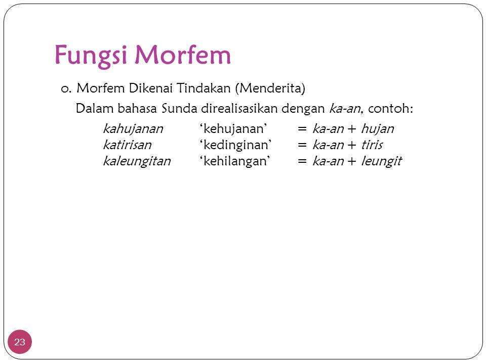 Fungsi Morfem 23 o. Morfem Dikenai Tindakan (Menderita) Dalam bahasa Sunda direalisasikan dengan ka-an, contoh: kahujanan'kehujanan'= ka-an + hujan ka