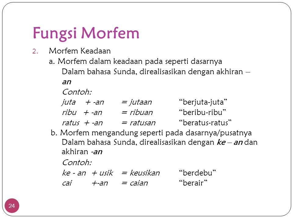 Fungsi Morfem 24 2. Morfem Keadaan a. Morfem dalam keadaan pada seperti dasarnya Dalam bahasa Sunda, direalisasikan dengan akhiran – an Contoh: juta +