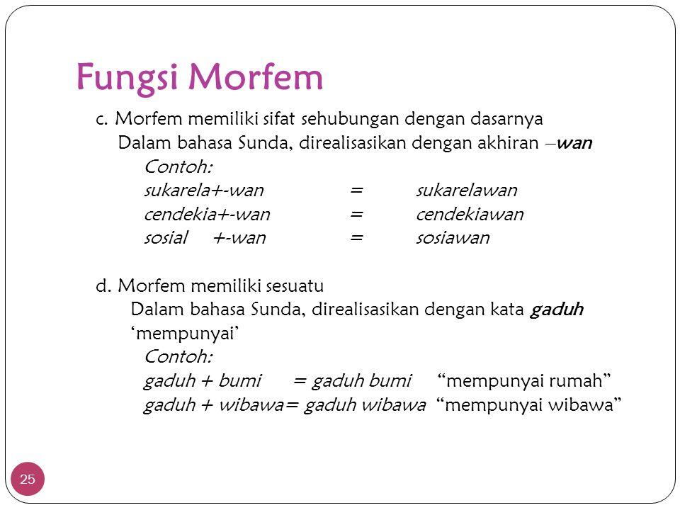 Fungsi Morfem 25 c. Morfem memiliki sifat sehubungan dengan dasarnya Dalam bahasa Sunda, direalisasikan dengan akhiran –wan Contoh: sukarela+-wan=suka