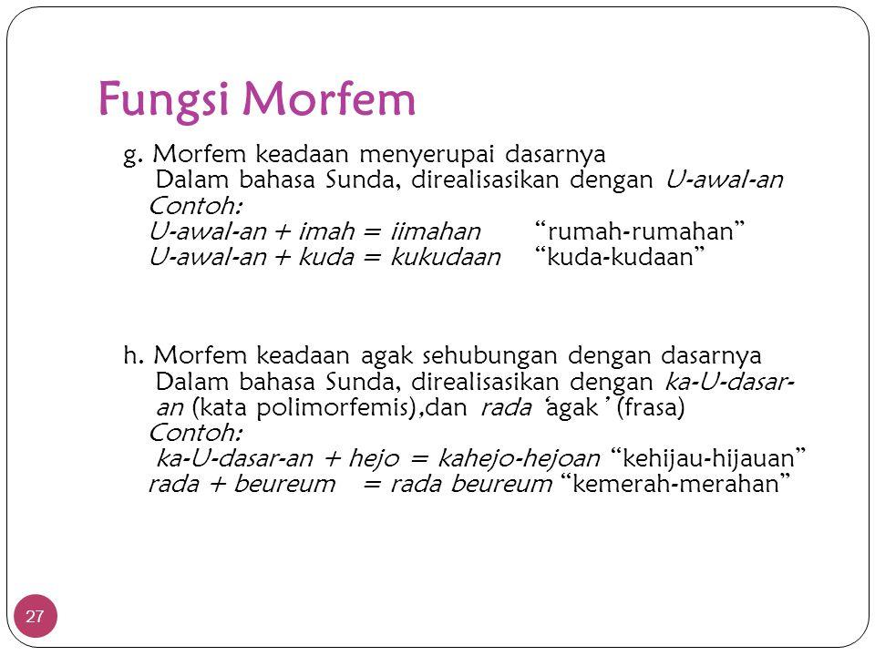 """Fungsi Morfem 27 g. Morfem keadaan menyerupai dasarnya Dalam bahasa Sunda, direalisasikan dengan U-awal-an Contoh: U-awal-an+ imah= iimahan""""rumah-ruma"""