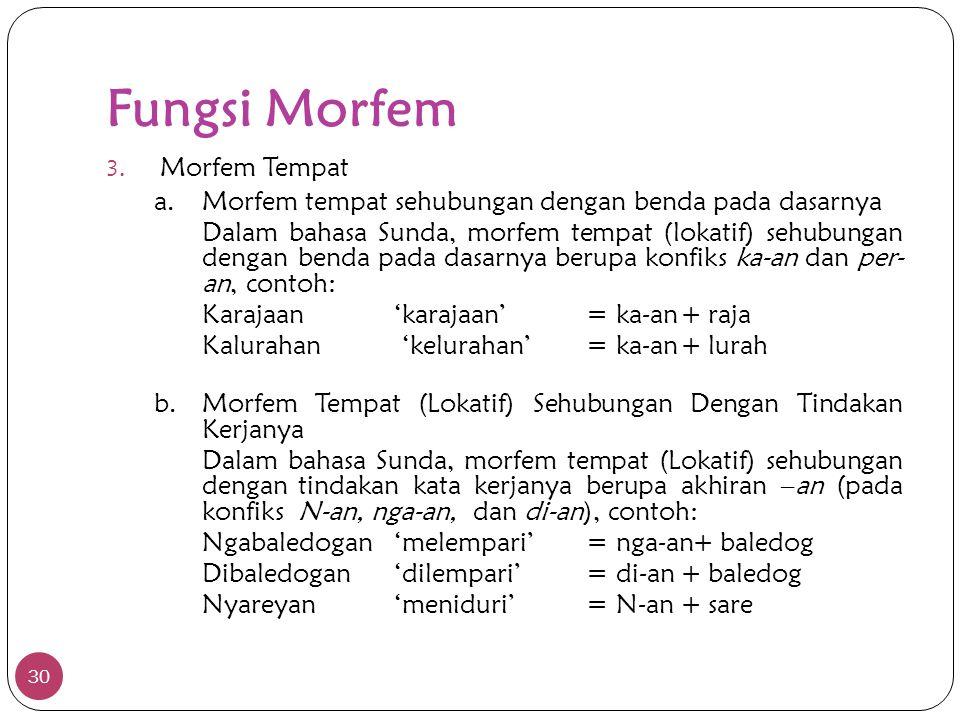 Fungsi Morfem 30 3. Morfem Tempat a. Morfem tempat sehubungan dengan benda pada dasarnya Dalam bahasa Sunda, morfem tempat (lokatif) sehubungan dengan