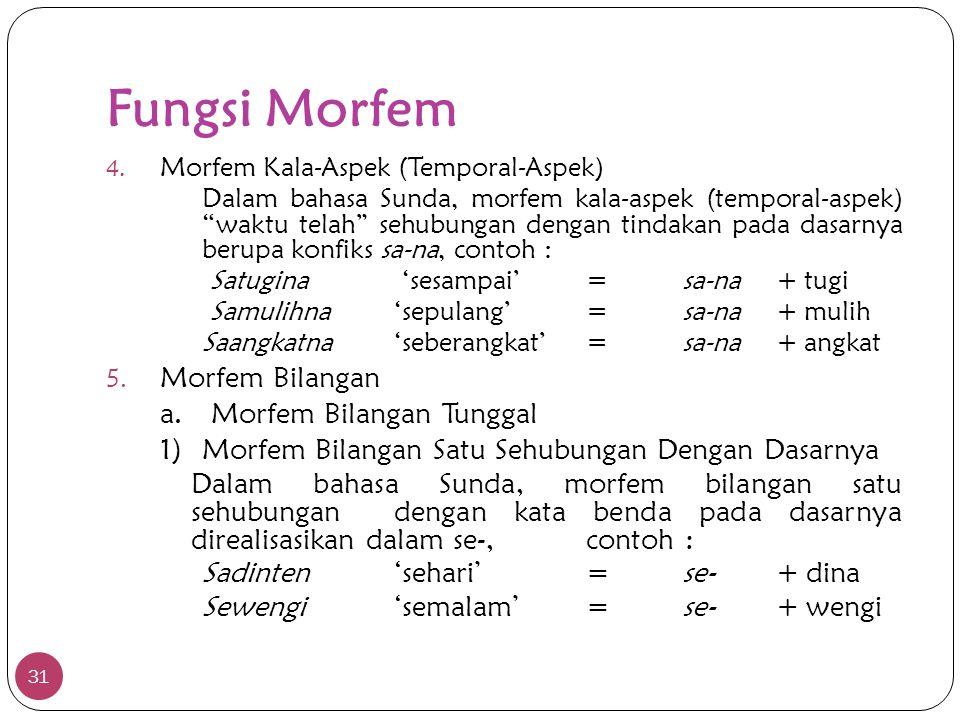 """Fungsi Morfem 31 4. Morfem Kala-Aspek (Temporal-Aspek) Dalam bahasa Sunda, morfem kala-aspek (temporal-aspek) """"waktu telah"""" sehubungan dengan tindakan"""