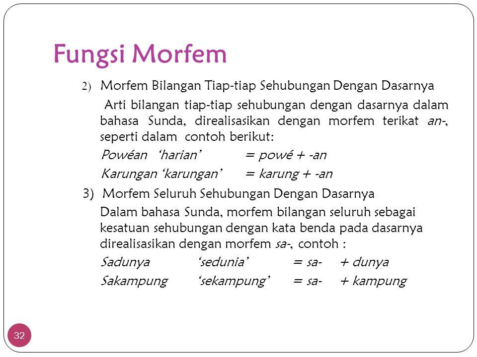 Fungsi Morfem 32 2) Morfem Bilangan Tiap-tiap Sehubungan Dengan Dasarnya Arti bilangan tiap-tiap sehubungan dengan dasarnya dalam bahasa Sunda, direal