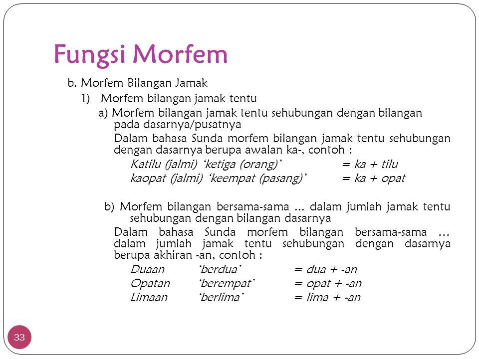 Fungsi Morfem 33 b. Morfem Bilangan Jamak 1)Morfem bilangan jamak tentu a) Morfem bilangan jamak tentu sehubungan dengan bilangan pada dasarnya/pusatn