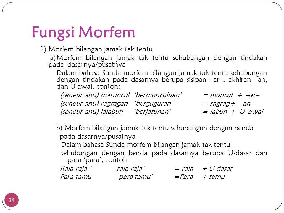 Fungsi Morfem 34 2) Morfem bilangan jamak tak tentu a)Morfem bilangan jamak tak tentu sehubungan dengan tindakan pada dasarnya/pusatnya Dalam bahasa S