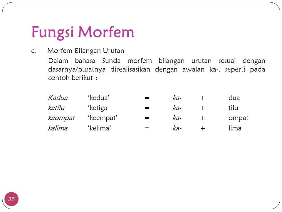 Fungsi Morfem 35 c. Morfem Bilangan Urutan Dalam bahasa Sunda morfem bilangan urutan sesuai dengan dasarnya/pusatnya direalisasikan dengan awalan ka-,