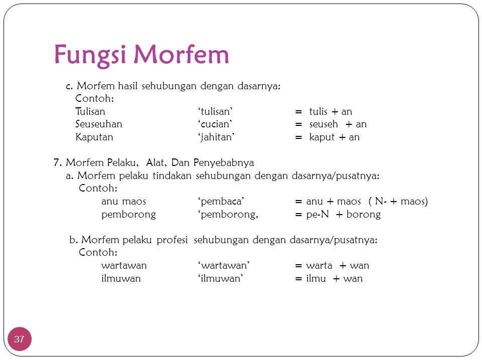 Fungsi Morfem 37 c. Morfem hasil sehubungan dengan dasarnya: Contoh: Tulisan'tulisan'= tulis + an Seuseuhan'cucian'= seuseh + an Kaputan'jahitan'= kap