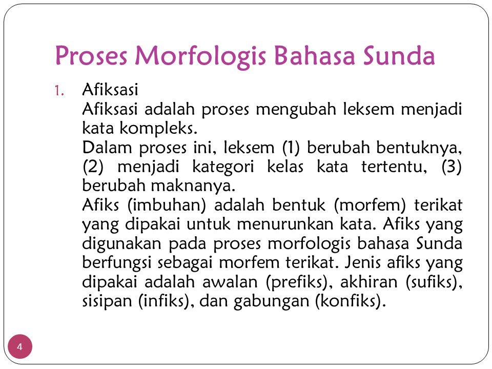 Proses Morfologis Bahasa Sunda 1. Afiksasi Afiksasi adalah proses mengubah leksem menjadi kata kompleks. Dalam proses ini, leksem (1) berubah bentukny