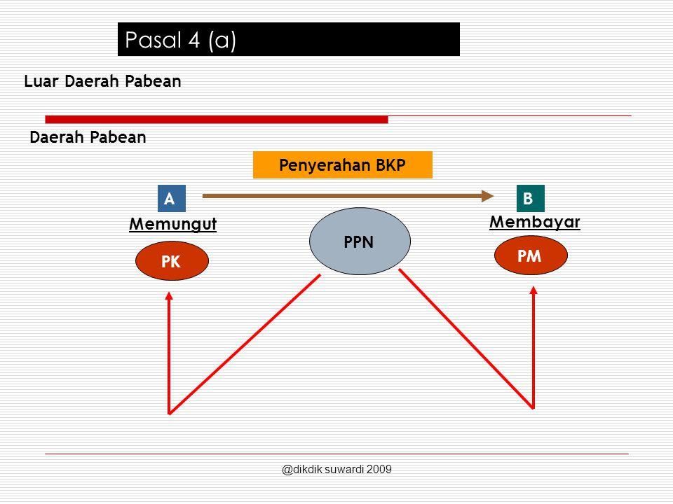 Pasal 4 (a) Daerah Pabean BA Penyerahan BKP PPN PK PM Memungut Membayar Luar Daerah Pabean @dikdik suwardi 2009