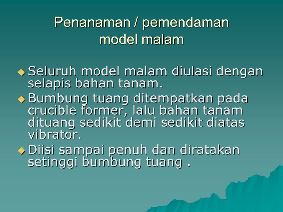 Penanaman / pemendaman model malam SSSSeluruh model malam diulasi dengan selapis bahan tanam.