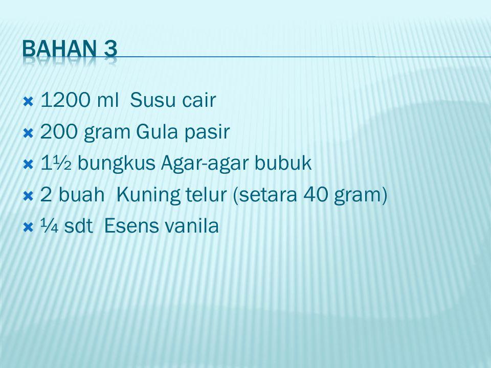  1200 ml Susu cair  200 gram Gula pasir  1½ bungkus Agar-agar bubuk  2 buah Kuning telur (setara 40 gram)  ¼ sdt Esens vanila