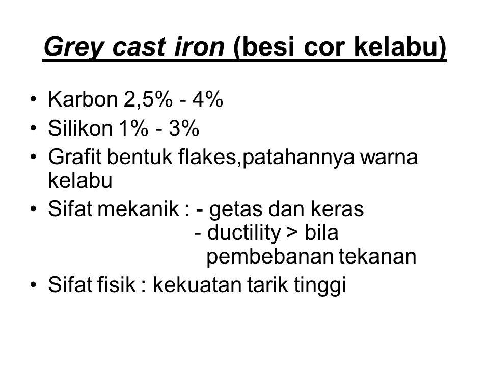 Grey cast iron (besi cor kelabu) Karbon 2,5% - 4% Silikon 1% - 3% Grafit bentuk flakes,patahannya warna kelabu Sifat mekanik : - getas dan keras - ductility > bila pembebanan tekanan Sifat fisik : kekuatan tarik tinggi