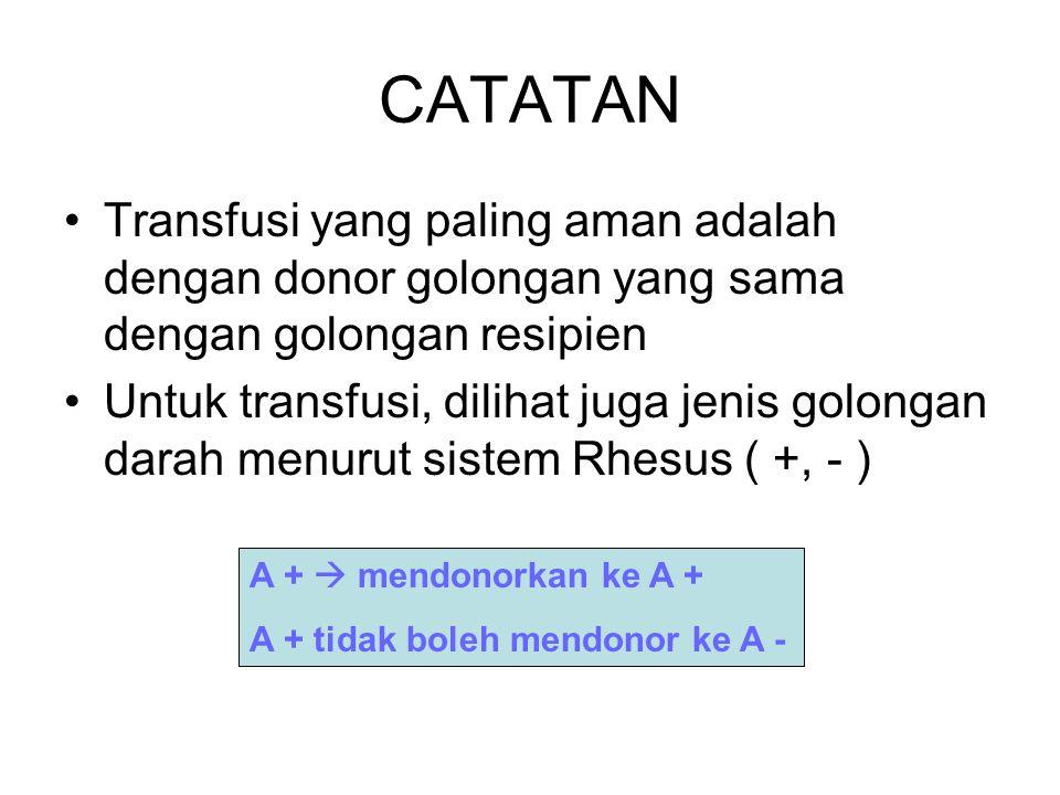 CATATAN Transfusi yang paling aman adalah dengan donor golongan yang sama dengan golongan resipien Untuk transfusi, dilihat juga jenis golongan darah menurut sistem Rhesus ( +, - ) A +  mendonorkan ke A + A + tidak boleh mendonor ke A -
