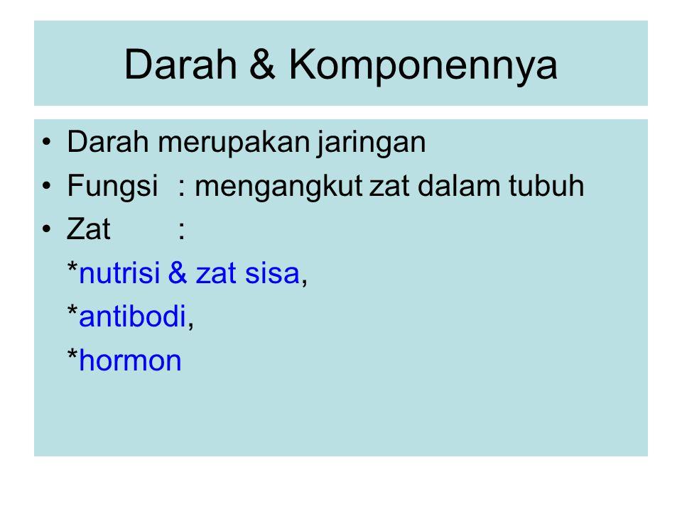 Darah & Komponennya Darah merupakan jaringan Fungsi: mengangkut zat dalam tubuh Zat: *nutrisi & zat sisa, *antibodi, *hormon