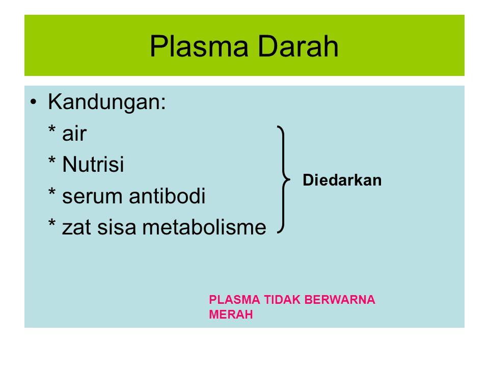 Plasma Darah Kandungan: * air * Nutrisi * serum antibodi * zat sisa metabolisme Diedarkan PLASMA TIDAK BERWARNA MERAH