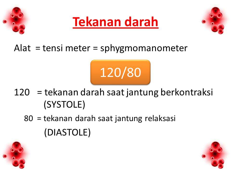 Tekanan darah Alat = tensi meter = sphygmomanometer 120 = tekanan darah saat jantung berkontraksi (SYSTOLE) 80= tekanan darah saat jantung relaksasi (DIASTOLE) 120/80