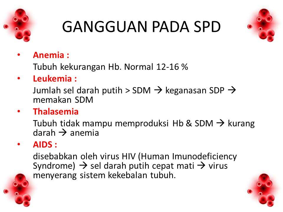 GANGGUAN PADA SPD Anemia : Tubuh kekurangan Hb. Normal 12-16 % Leukemia : Jumlah sel darah putih > SDM  keganasan SDP  memakan SDM Thalasemia Tubuh