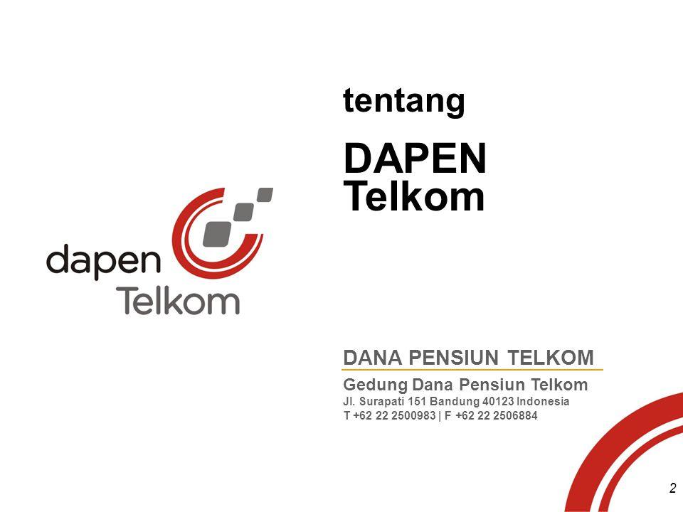 tentang DAPEN Telkom DANA PENSIUN TELKOM Gedung Dana Pensiun Telkom Jl. Surapati 151 Bandung 40123 Indonesia T +62 22 2500983 | F +62 22 2506884 2