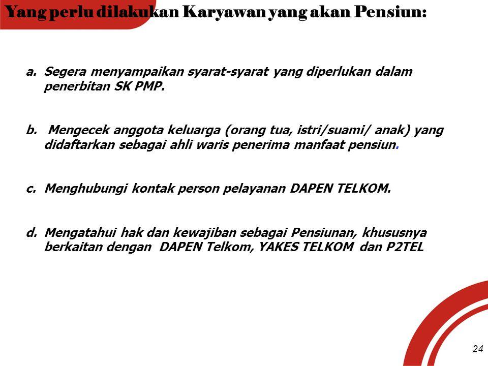Yang perlu dilakukan Karyawan yang akan Pensiun: a.Segera menyampaikan syarat-syarat yang diperlukan dalam penerbitan SK PMP. b. Mengecek anggota kelu
