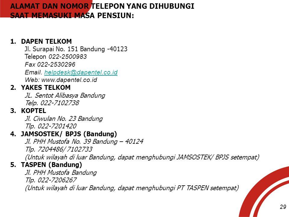ALAMAT DAN NOMOR TELEPON YANG DIHUBUNGI SAAT MEMASUKI MASA PENSIUN: 1.DAPEN TELKOM Jl. Surapai No. 151 Bandung -40123 Telepon 022-2500983 Fax 022-2530