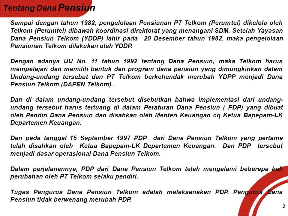 Sampai dengan tahun 1982, pengelolaan Pensiunan PT Telkom (Perumtel) dikelola oleh Telkom (Perumtel) dibawah koordinasi direktorat yang menangani SDM.