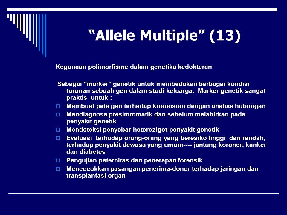 """""""Allele Multiple"""" (13) Kegunaan polimorfisme dalam genetika kedokteran Sebagai """"marker"""" genetik untuk membedakan berbagai kondisi turunan sebuah gen d"""