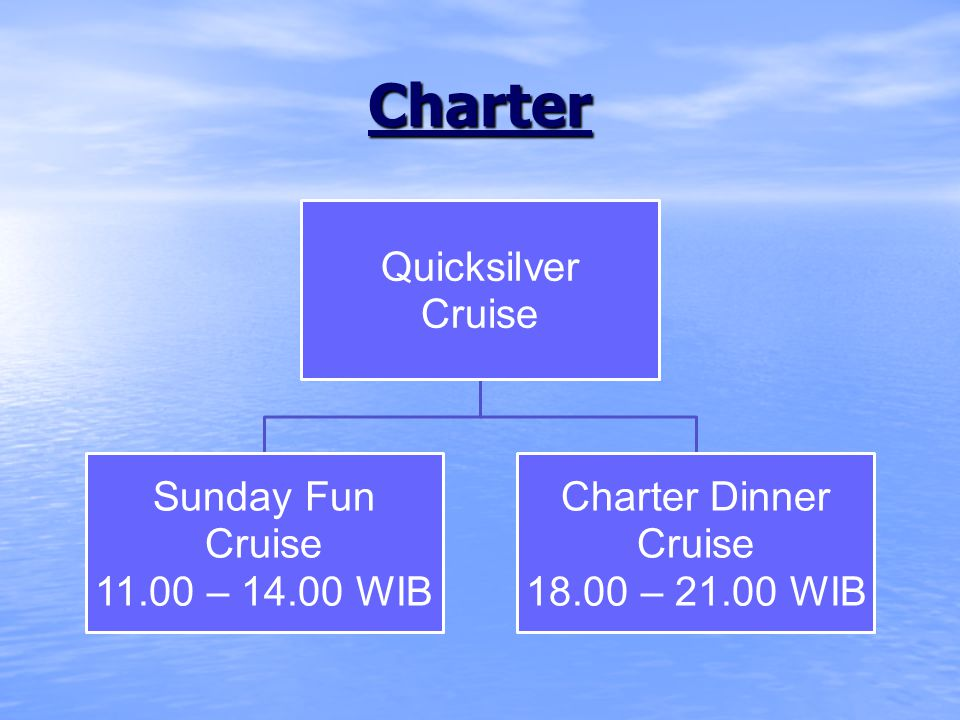 Charter Quicksilver Cruise Sunday Fun Cruise 11.00 – 14.00 WIB Charter Dinner Cruise 18.00 – 21.00 WIB
