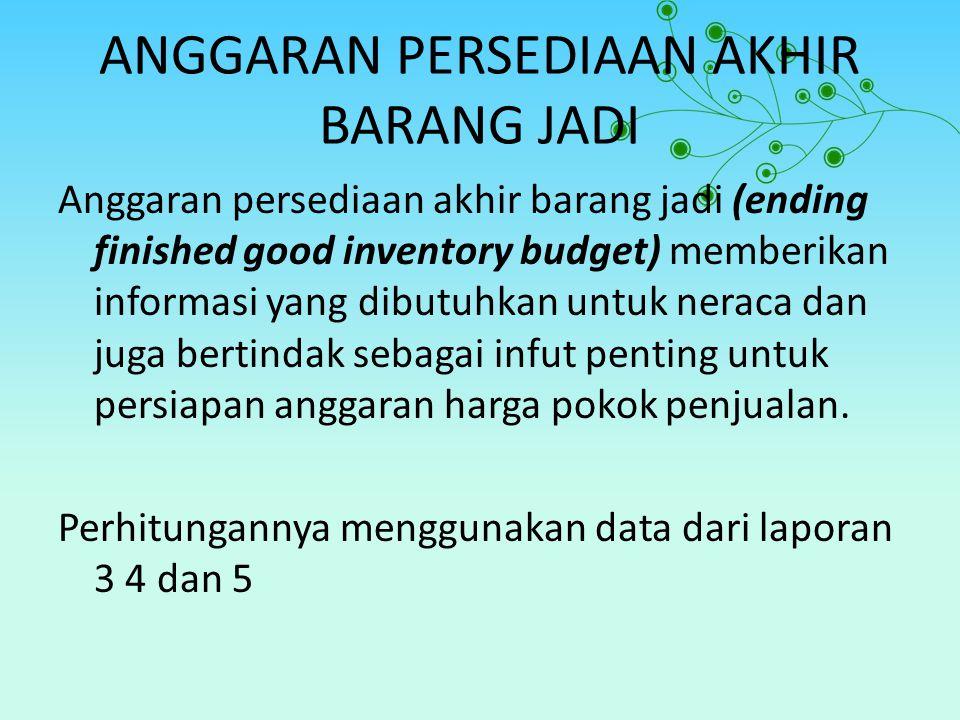 ANGGARAN PERSEDIAAN AKHIR BARANG JADI Anggaran persediaan akhir barang jadi (ending finished good inventory budget) memberikan informasi yang dibutuhk