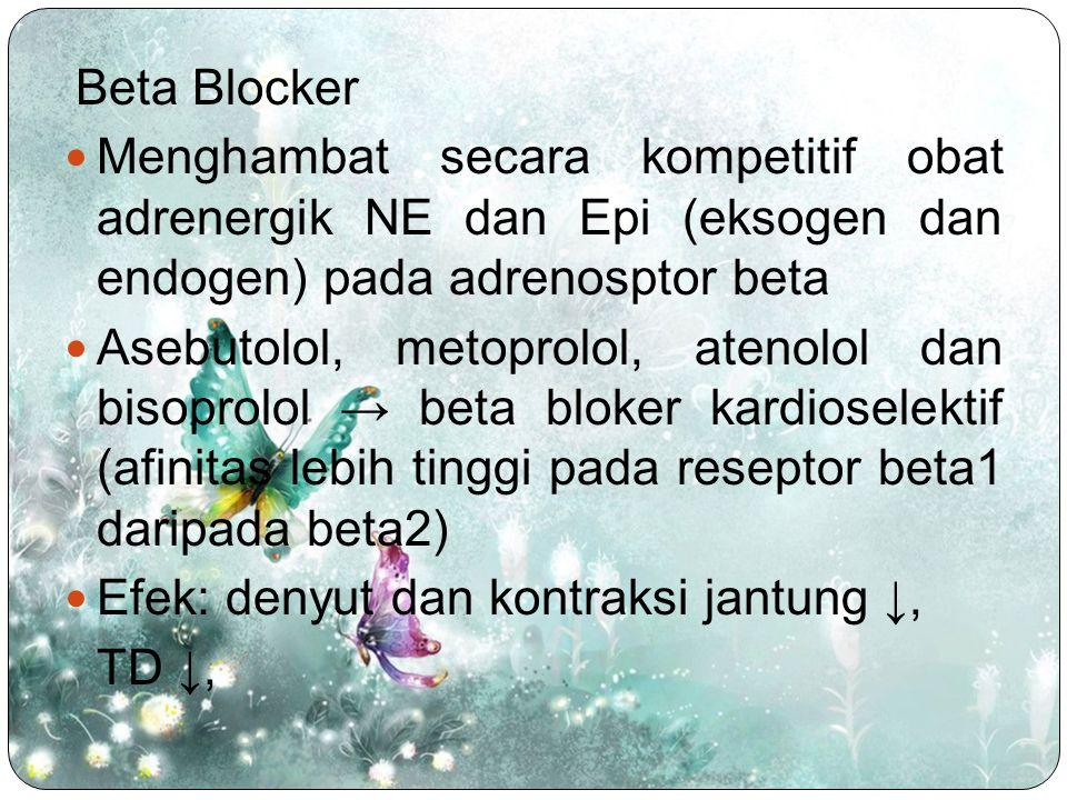 Efek samping: gagal jantung, bradiaritmia, bronkospasme, gangguan sirkulasi perifer, gejala putus obat (infark, aritmia), hipoglikemia, gangguan tidur, mimpi buruk, insomnia Sediaan: propanolol, alprenolol, oksprenolol, metoprolol, bisoprolol, asebutolol, pindolol, nadolol, atenolol Penggunaan klinis: mengurangi denyut jantung dan kontraktilitas miokard, antihipertensi, bronkodilator, menghambat glikogenolisis di sel hati dan otot rangka, menhambat lipolisis menghambat sekresi renin.