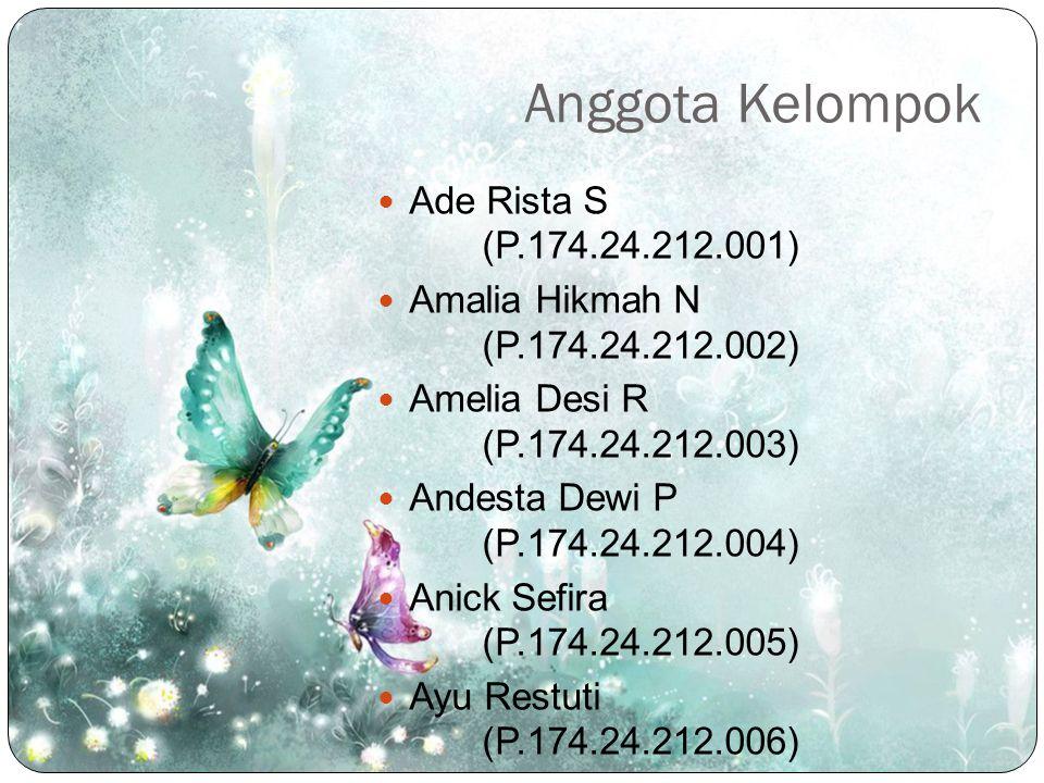 Anggota Kelompok Ade Rista S (P.174.24.212.001) Amalia Hikmah N (P.174.24.212.002) Amelia Desi R (P.174.24.212.003) Andesta Dewi P (P.174.24.212.004)