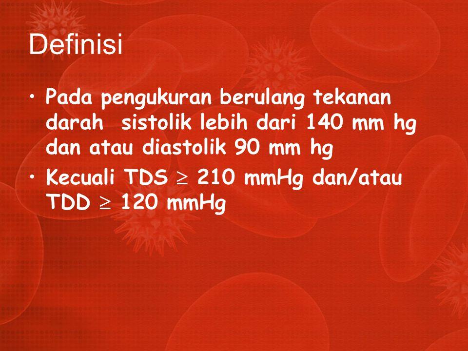 Definisi Pada pengukuran berulang tekanan darah sistolik lebih dari 140 mm hg dan atau diastolik 90 mm hg Kecuali TDS  210 mmHg dan/atau TDD  120 mm