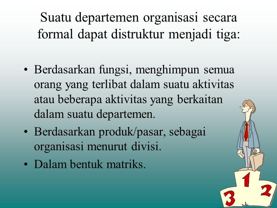 Bagan organisasi menggambarkan lima aspek struktur organisasi yang utama: 1.Pembagian kerja. 2.Manajer dan bawahan. 3.Jenis kerja yang dilaksanakan. 4