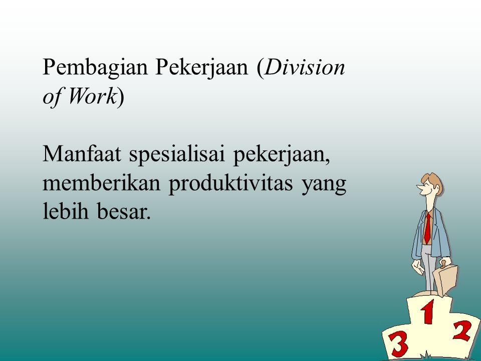 ASPEK STRUKTUR ORGANISASI: Pembagian pekerjaan (Division of work) Pendepartemenan (Departementalization)