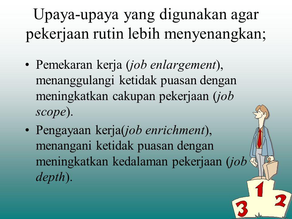 Cakupan pekerjaan (job scope) jumlah pelaksanaan operasi yang berbeda, yang diperlukan oleh suatu pekerjaan tertentu dan frekuensi pengulangan daur pe
