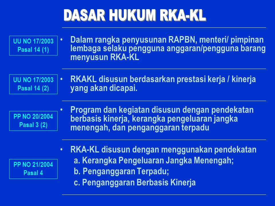 Dalam rangka penyusunan RAPBN, menteri/ pimpinan lembaga selaku pengguna anggaran/pengguna barang menyusun RKA-KL RKAKL disusun berdasarkan prestasi k