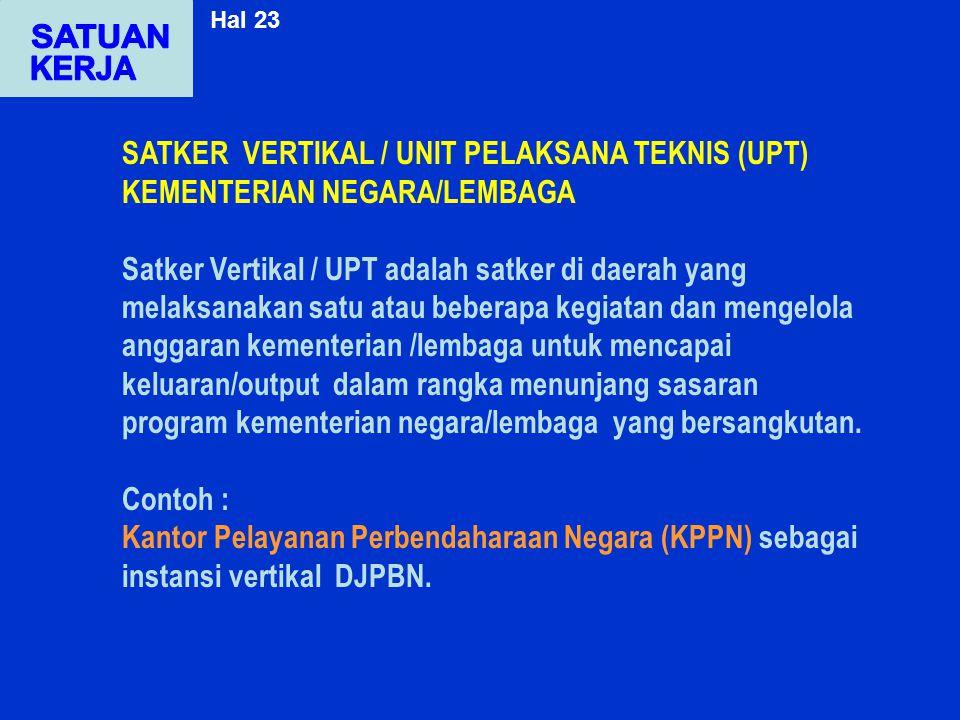 SATKER VERTIKAL / UNIT PELAKSANA TEKNIS (UPT) KEMENTERIAN NEGARA/LEMBAGA Satker Vertikal / UPT adalah satker di daerah yang melaksanakan satu atau beb