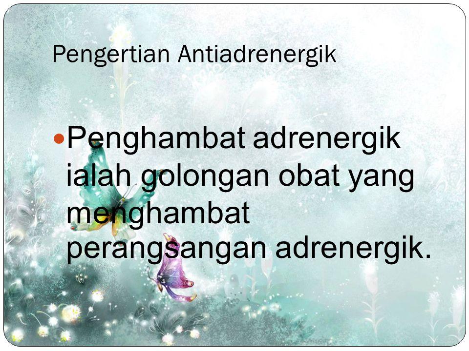 Pengertian Antiadrenergik Penghambat adrenergik ialah golongan obat yang menghambat perangsangan adrenergik.