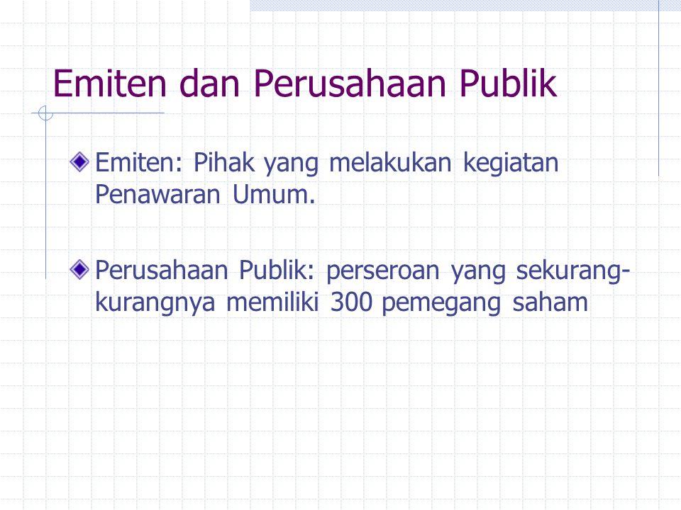 Emiten dan Perusahaan Publik Emiten: Pihak yang melakukan kegiatan Penawaran Umum. Perusahaan Publik: perseroan yang sekurang- kurangnya memiliki 300