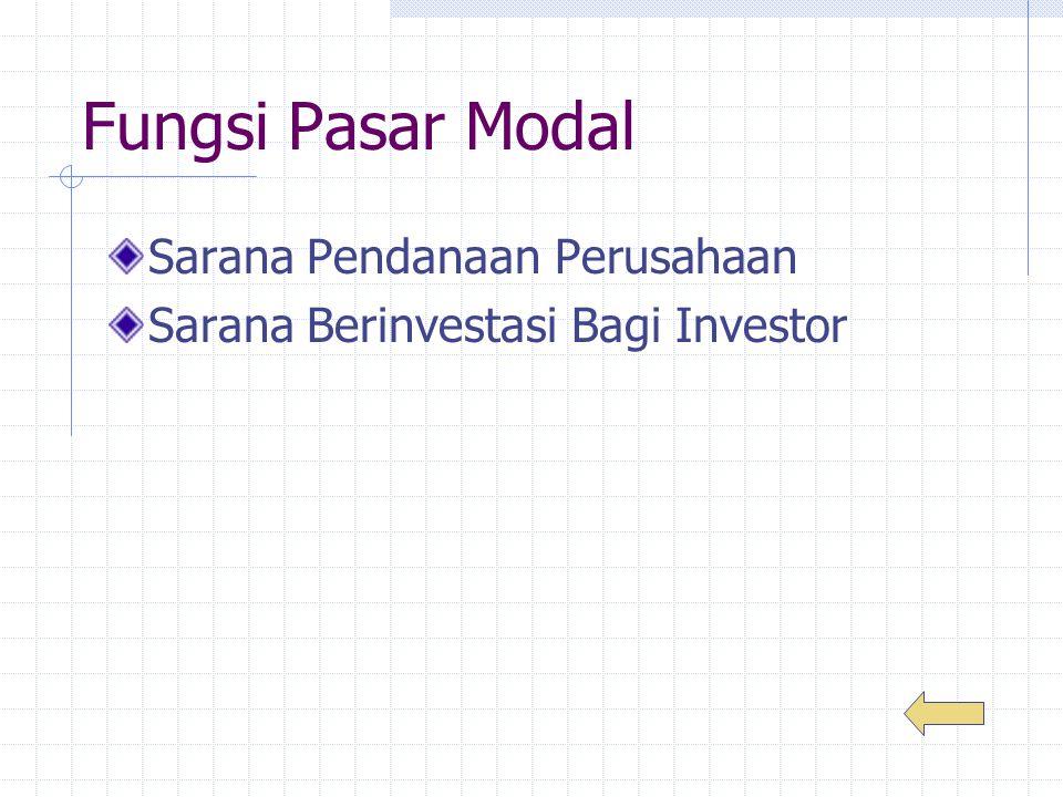 Fungsi Pasar Modal Sarana Pendanaan Perusahaan Sarana Berinvestasi Bagi Investor