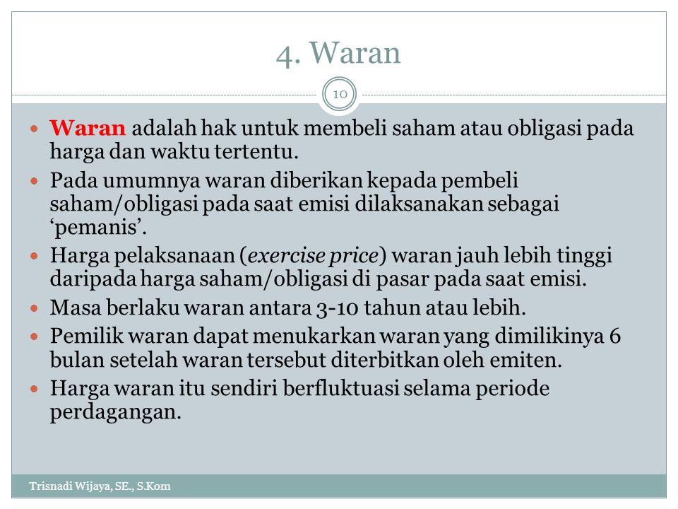 4. Waran Trisnadi Wijaya, SE., S.Kom 10 Waran adalah hak untuk membeli saham atau obligasi pada harga dan waktu tertentu. Pada umumnya waran diberikan