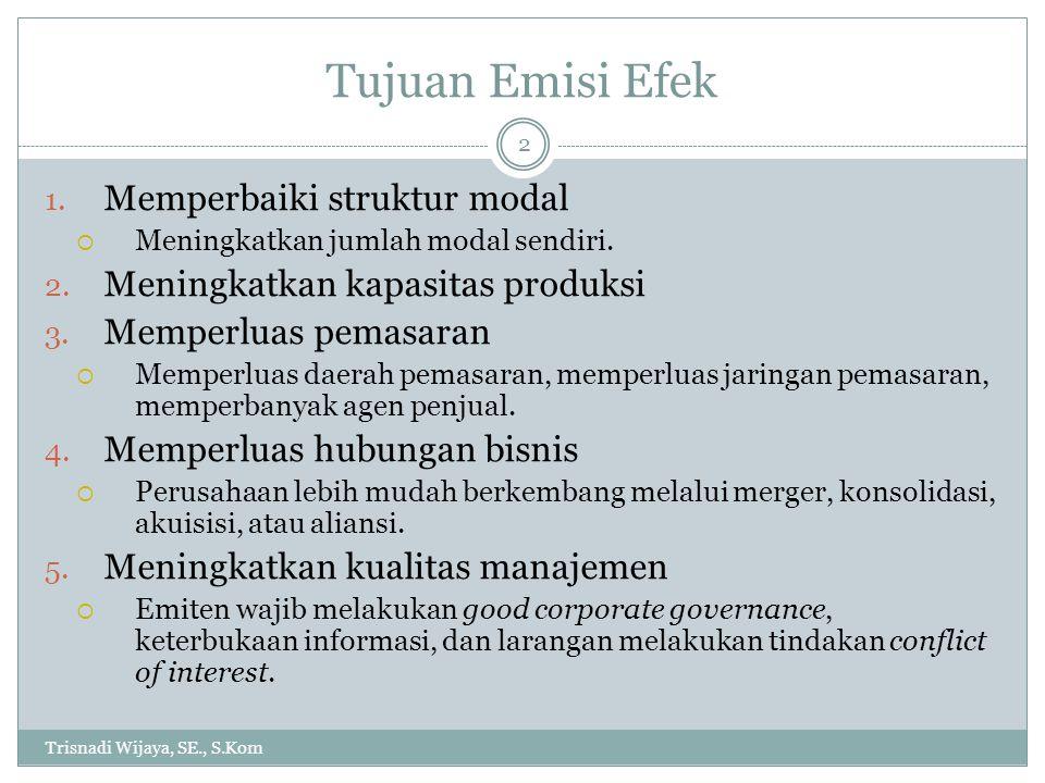 Tujuan Emisi Efek Trisnadi Wijaya, SE., S.Kom 2 1. Memperbaiki struktur modal  Meningkatkan jumlah modal sendiri. 2. Meningkatkan kapasitas produksi