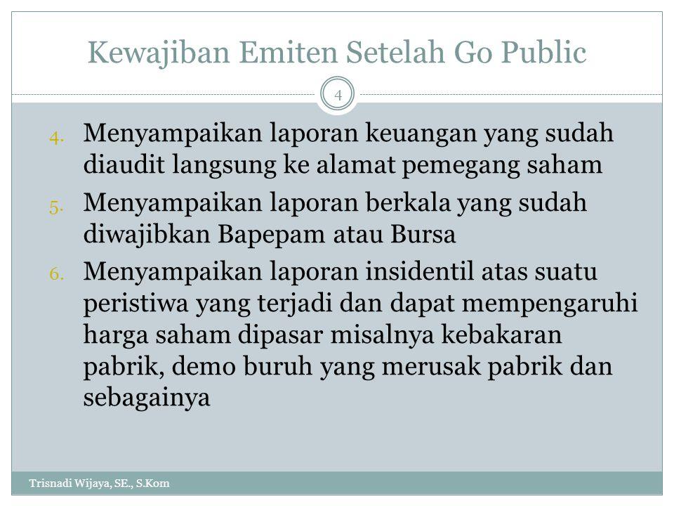 Kewajiban Emiten Setelah Go Public Trisnadi Wijaya, SE., S.Kom 4 4. Menyampaikan laporan keuangan yang sudah diaudit langsung ke alamat pemegang saham