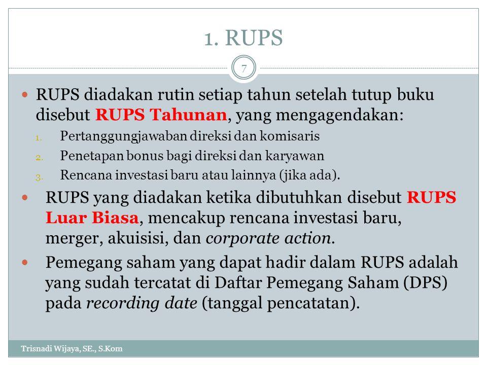 1. RUPS Trisnadi Wijaya, SE., S.Kom 7 RUPS diadakan rutin setiap tahun setelah tutup buku disebut RUPS Tahunan, yang mengagendakan: 1. Pertanggungjawa