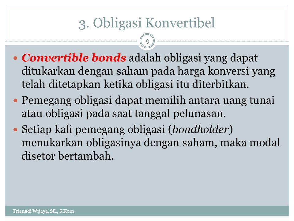 3. Obligasi Konvertibel Trisnadi Wijaya, SE., S.Kom 9 Convertible bonds adalah obligasi yang dapat ditukarkan dengan saham pada harga konversi yang te