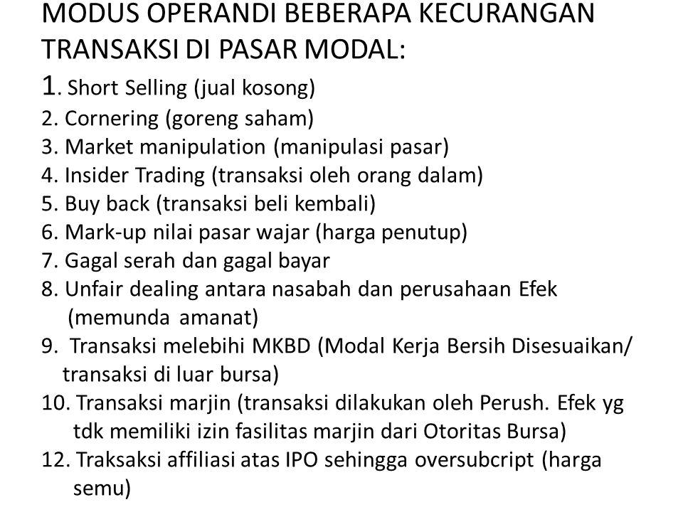 MODUS OPERANDI BEBERAPA KECURANGAN TRANSAKSI DI PASAR MODAL: 1. Short Selling (jual kosong) 2. Cornering (goreng saham) 3. Market manipulation (manipu