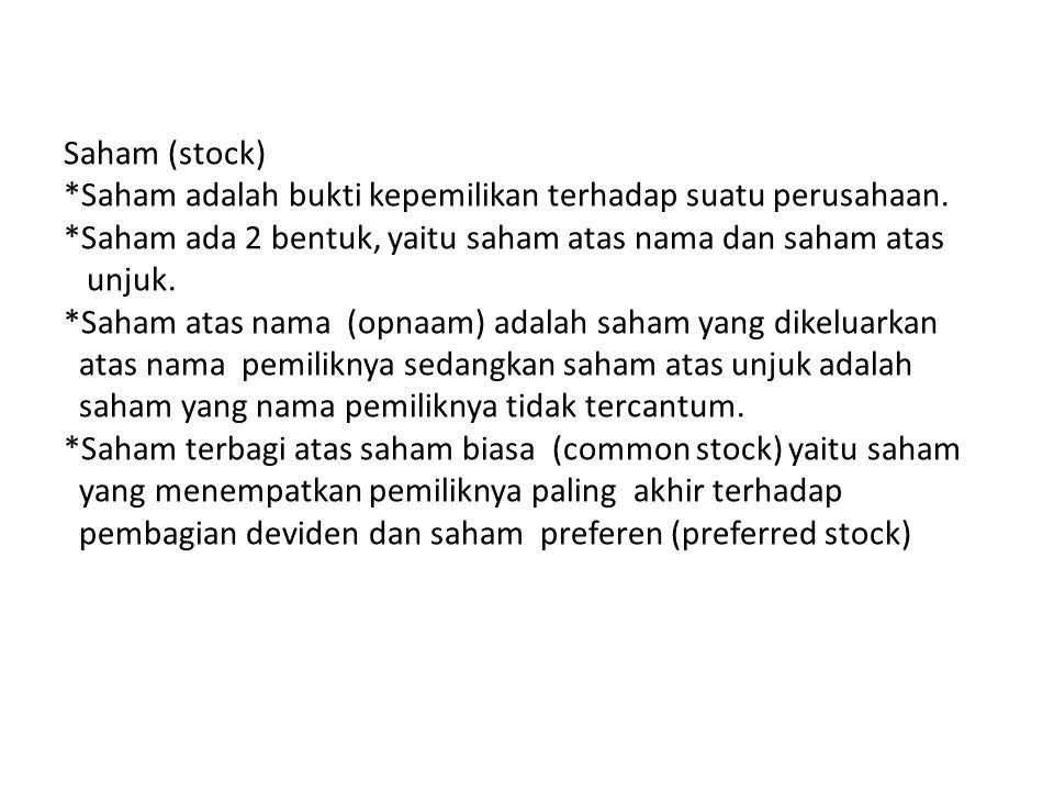 Saham (stock) *Saham adalah bukti kepemilikan terhadap suatu perusahaan. *Saham ada 2 bentuk, yaitu saham atas nama dan saham atas unjuk. *Saham atas